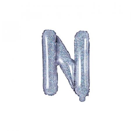Balon Folie Litera N Holografic, 35 cm0