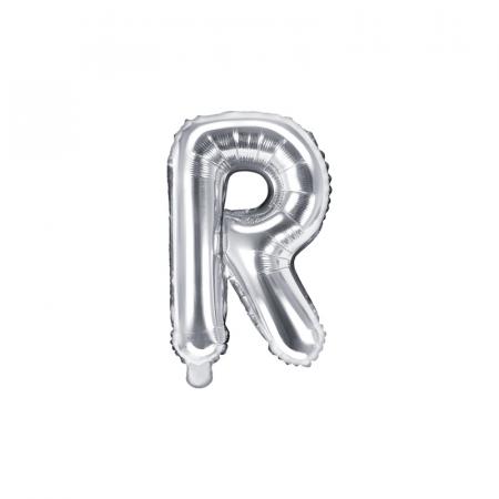 Balon Folie Litera R Argintiu, 35 cm0