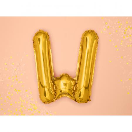 Balon Folie Litera W Auriu, 35 cm [1]