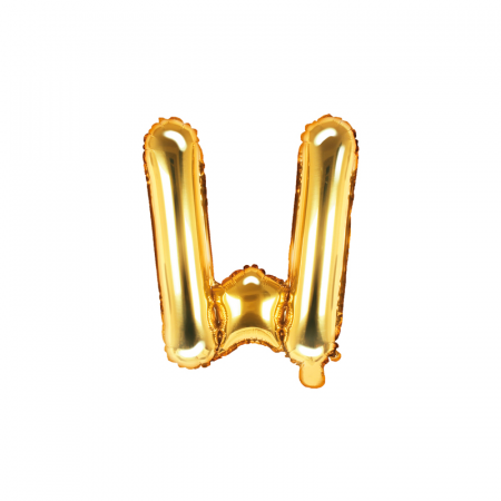 Balon Folie Litera W Auriu, 35 cm0