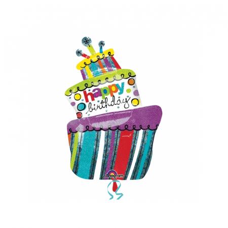 Balon Folie Tort Happy Birthday - 61x94 cm0