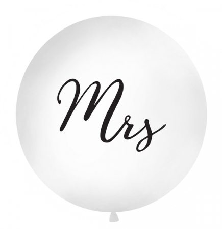 Balon Jumbo Mrs, Alb - 100 cm0