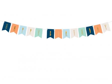 Banner Happy Birthday Mix, Albastru0