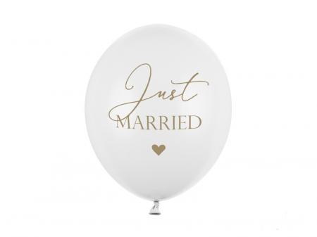 Set 6 Baloane Just Married, Alb - 30 cm [0]