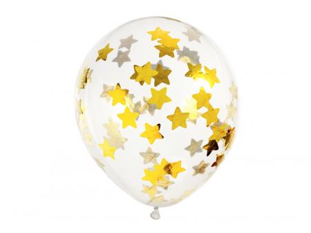 Set 6 Baloane Transparente cu Confetti, Stele, Auriu - 30 cm [0]