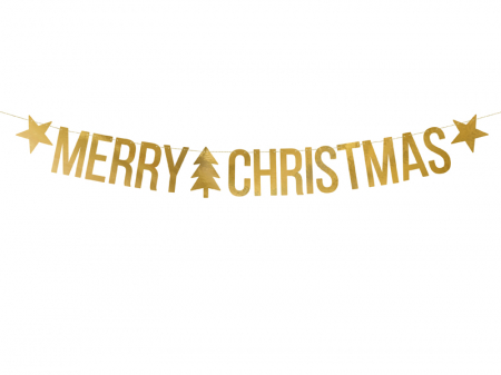Banner Craciun, Merry Christmas, Auriu [0]