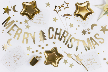 Banner Craciun, Merry Christmas, Auriu [2]