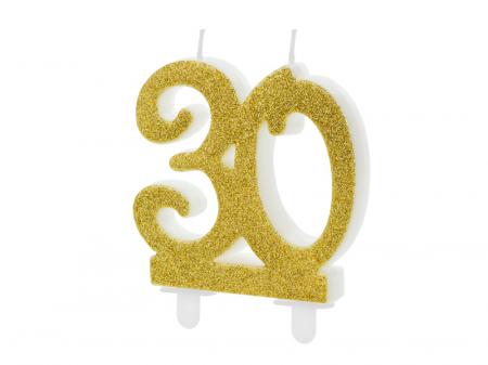 Lumanare Cifra 30, auriu, 7.5 cm0