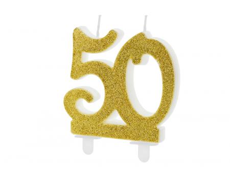 Lumanare Cifra 50, auriu, 7.5 cm0