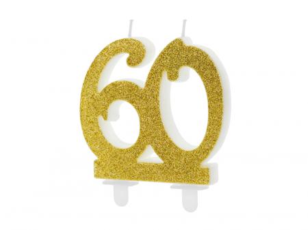 Lumanare Cifra 60, auriu, 7.5 cm0