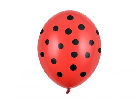 Set 6 Baloane Rosii cu buline negre - 30 cm [0]