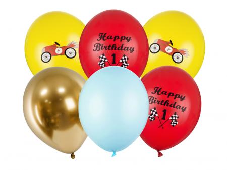 Set 6 Baloane Latex Happy Birthday Masinute - 30 cm [0]