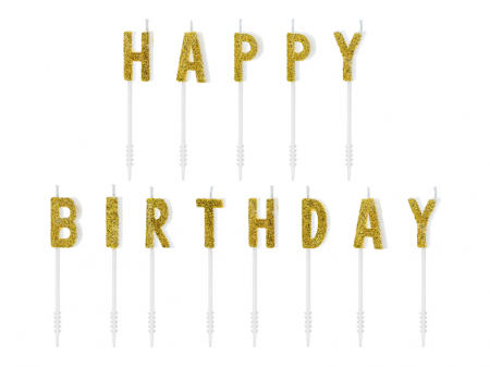 Set 13 Lumanari Happy Birthday, auriu, 2.5 cm0