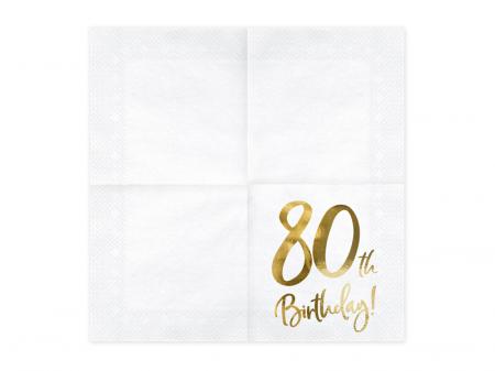 Set 20 Servetele aniversare 80th Birthday1