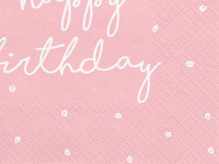 Set 20 Servetele Happy Birthday Roz1