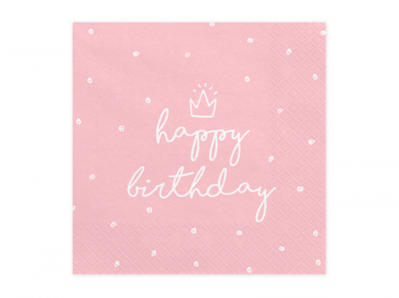 Set 20 Servetele Happy Birthday Roz0
