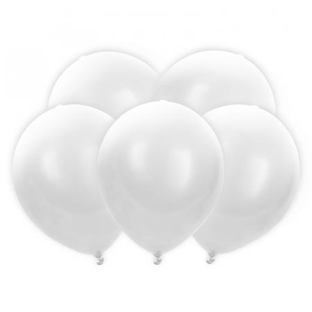 Set 5 Baloane LED, Albe - 30 cm