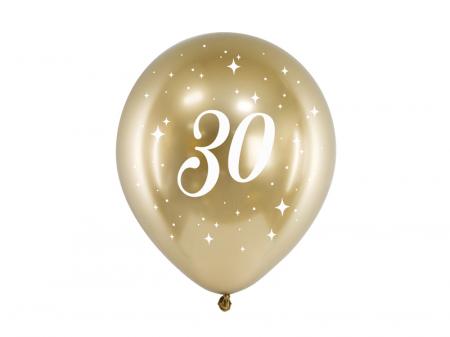Set 6 Baloane 30 ani, Auriu Metalizat - 30 cm