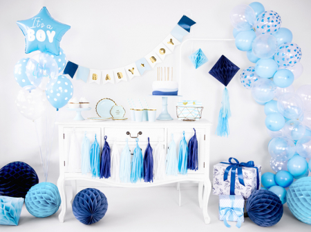 Set 6 Baloane Albastre cu buline albe - 30 cm2