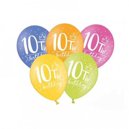 Set 6 Baloane Aniversare 10 ani - 30 cm0