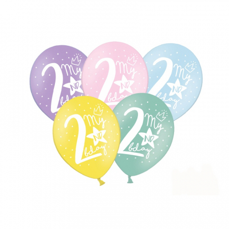Set 6 Baloane Aniversare 2 ani - 30 cm0
