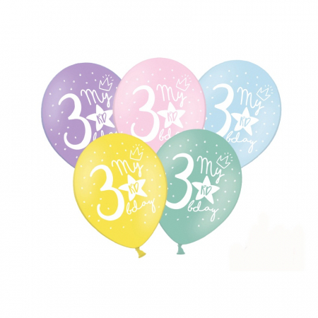 Set 6 Baloane Aniversare 3 ani - 30 cm0