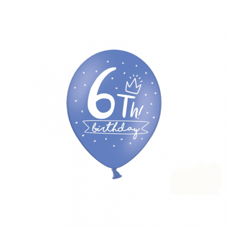 Set 6 Baloane Aniversare 6 ani - 30 cm1