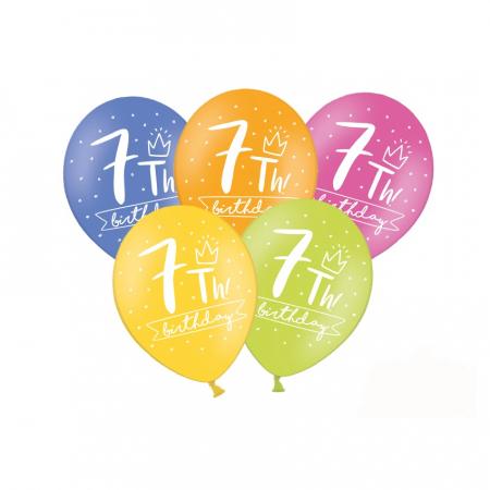 Set 6 Baloane Aniversare 7 ani - 30 cm0