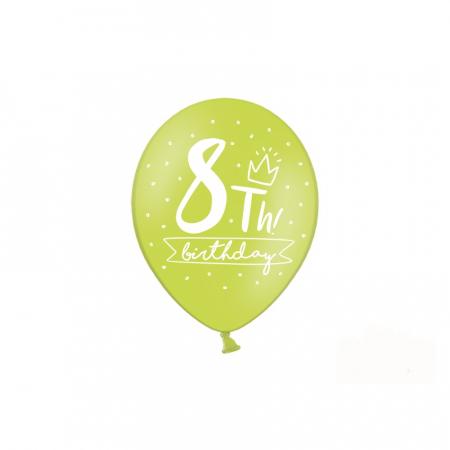 Set 6 Baloane Aniversare 8 ani - 30 cm5
