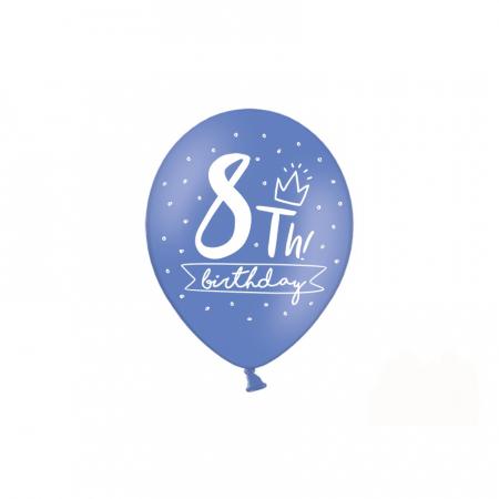 Set 6 Baloane Aniversare 8 ani - 30 cm1