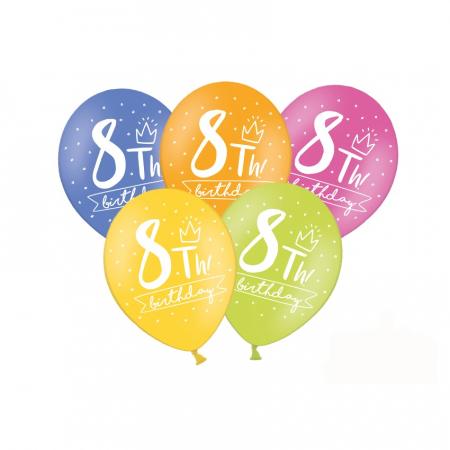 Set 6 Baloane Aniversare 8 ani - 30 cm0