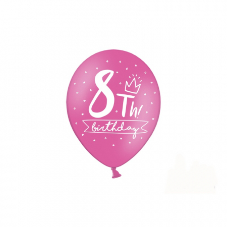 Set 6 Baloane Aniversare 8 ani - 30 cm3