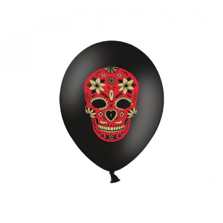 Set 6 Baloane Dia de Los Muertos, negru - 30 cm0