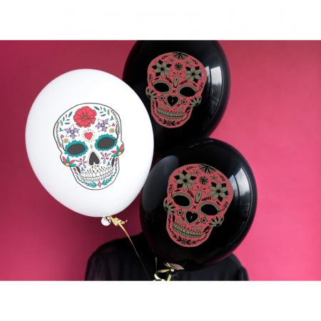 Set 6 Baloane Dia de Los Muertos, negru - 30 cm1