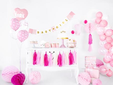 Set 6 Baloane roz cu buline albe - 30 cm2