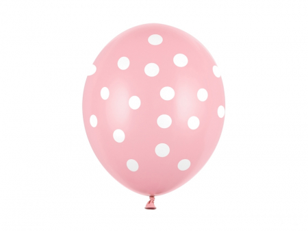 Set 6 Baloane roz cu buline albe - 30 cm [0]