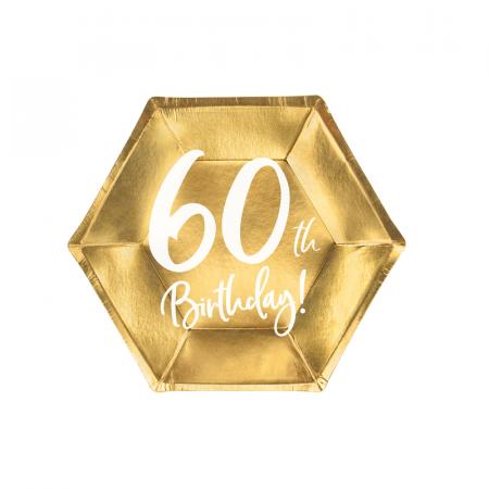 Set 6 Farfurii aniversare 60 ani, 20 cm0