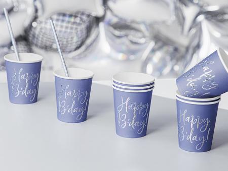 Set 6 Pahare Happy B'day!, albastru, 220 ml [1]