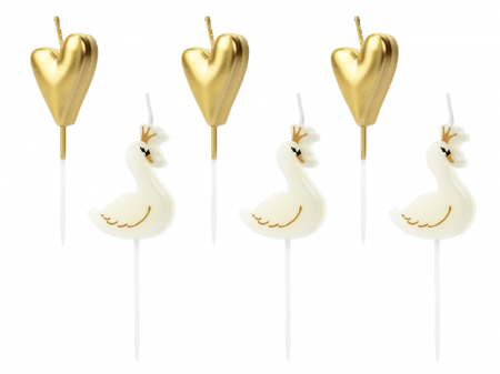 Set 6 Lumanari Lovely Swan, 3.5-4 cm0