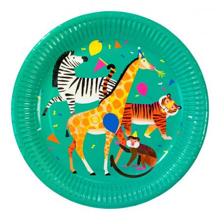 Set 8 Farfurii Party Animals Safari, 23 cm0