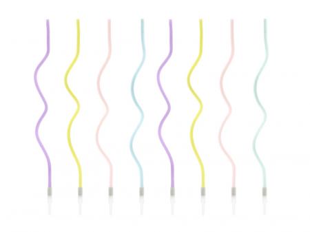 Set 8 Lumanari Spirala, Multicolor, 14 cm0