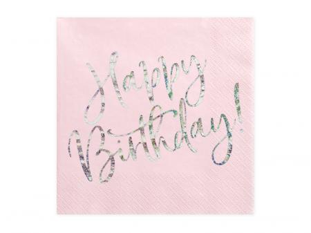 Set 20 Servetele Happy Birthday Roz, 33x33 cm0