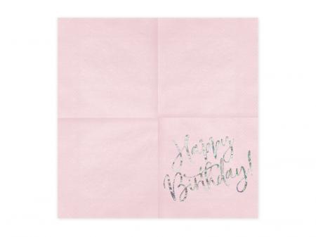 Set 20 Servetele Happy Birthday Roz, 33x33 cm1
