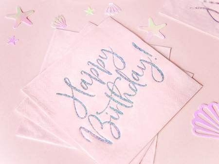 Set 20 Servetele Happy Birthday Roz, 33x33 cm2