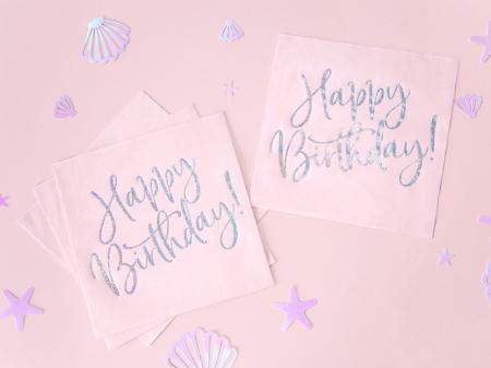 Set 20 Servetele Happy Birthday Roz, 33x33 cm3