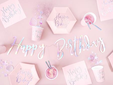 Set 20 Servetele Happy Birthday Roz, 33x33 cm4