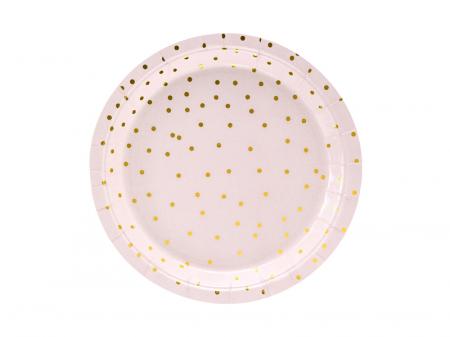 Set 6 Farfurii Roz cu Buline Aurii, 18 cm [0]
