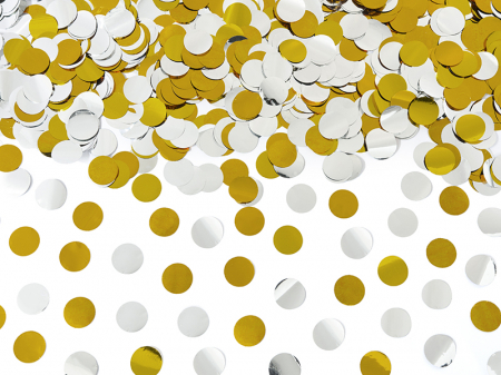 Tun Confetti Cercuri, auriu si argintiu, 60 cm [2]