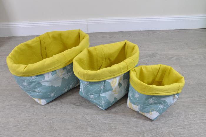 Set 3 cosuri textile pentru depozitare model ursi polari  si galben
