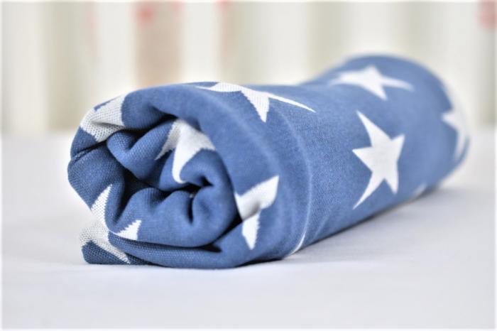 Paturica tricot bleu cu stelute  albe [3]